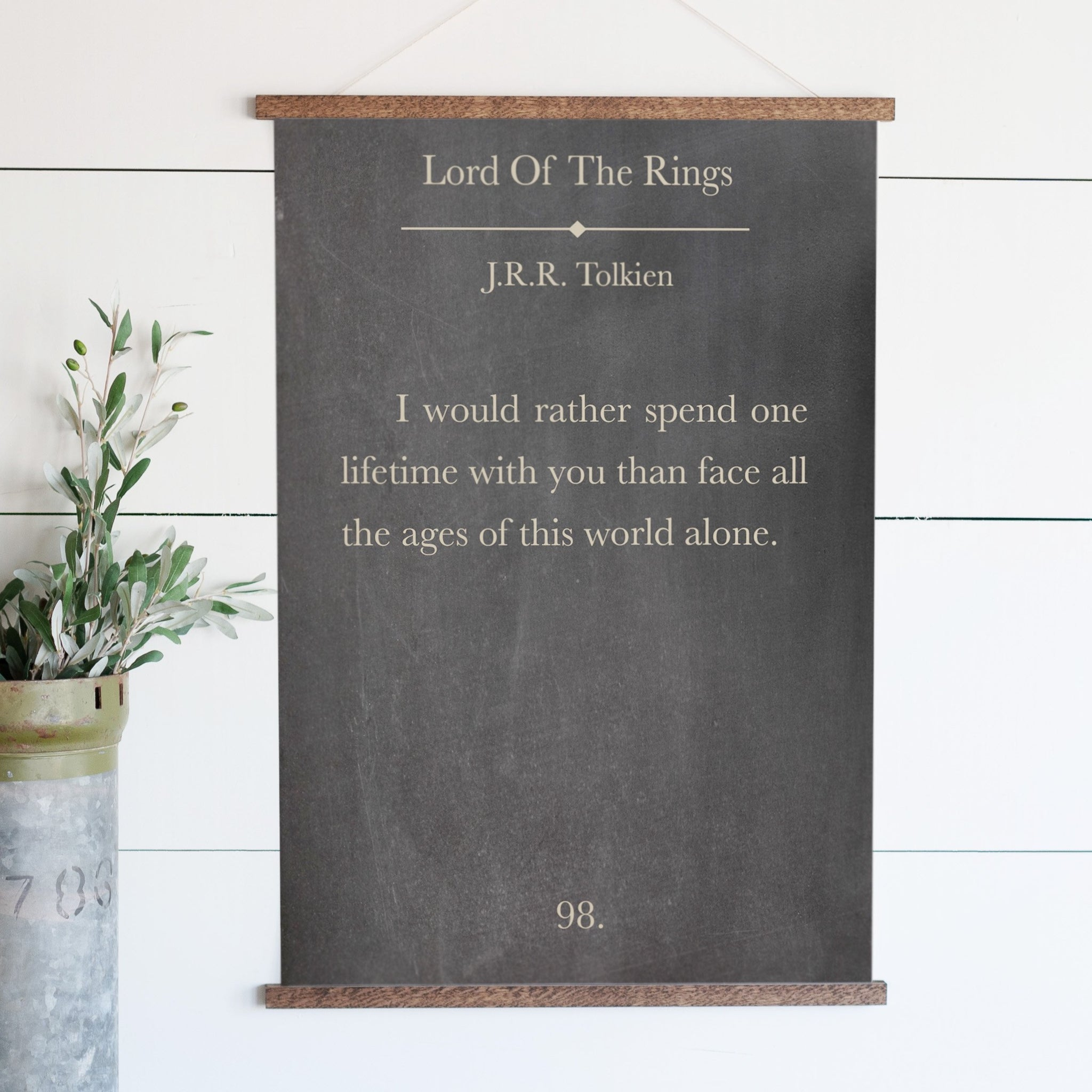 "Lord of the Rings ""I Would Rather Spend One Lifetime"" Bookpage Hanging Canvas"