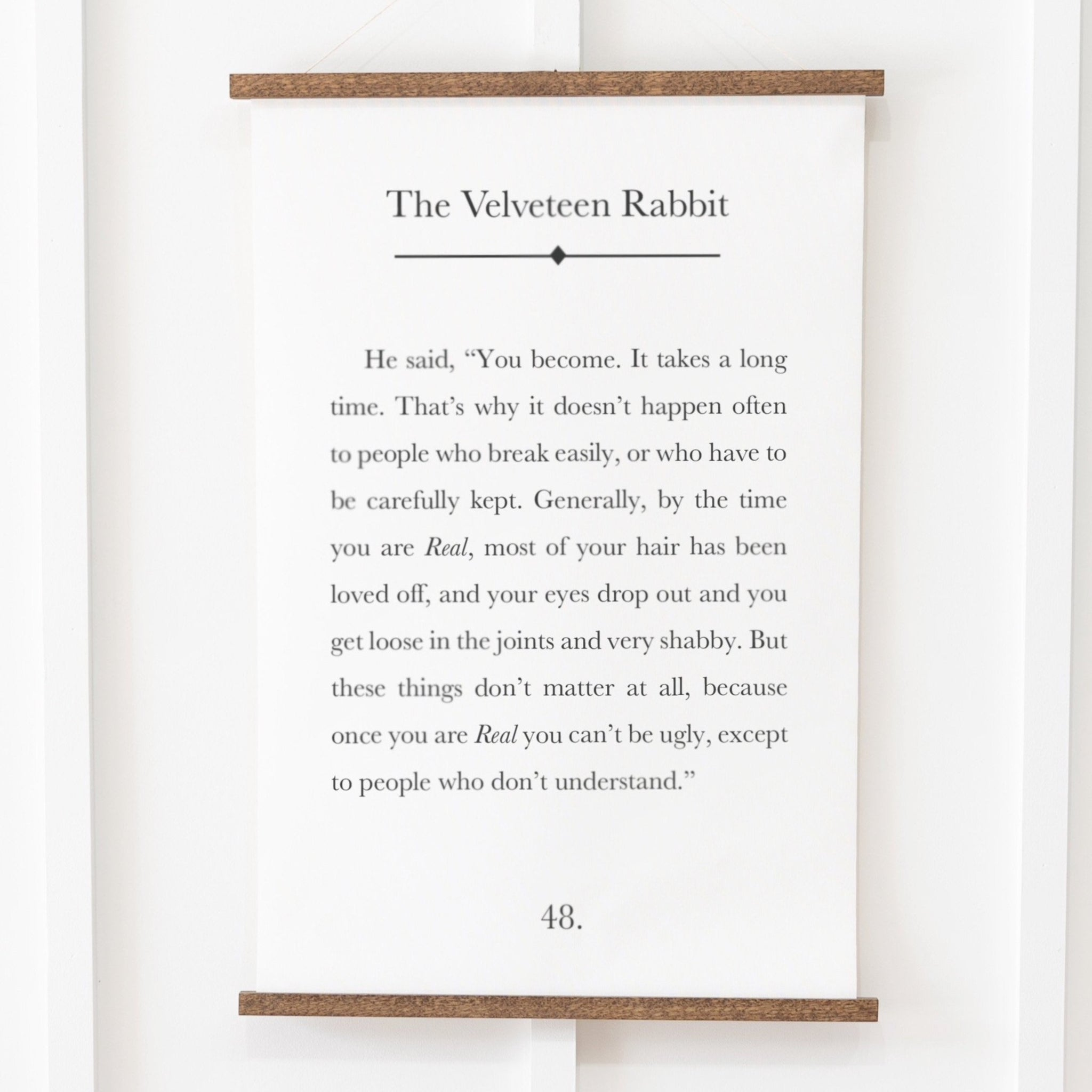 The Velveteen Rabbit Bookpage Hanging Canvas