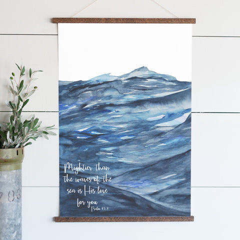 Mightier Than The Waves Of The Sea Illustrated Scripture Hanging Canvas
