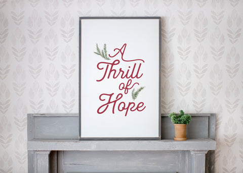 A Thrill of Hope Christmas Wood Sign