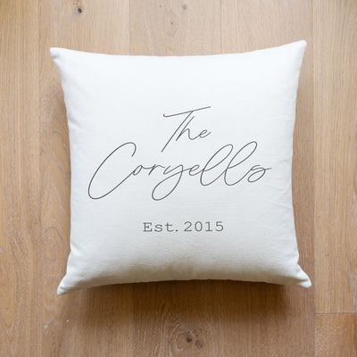 Personalized Name and Established Date Pillow | Custom Pillow