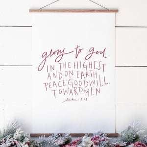 """Glory to God in The Highest"" Christmas Hanging Canvas"
