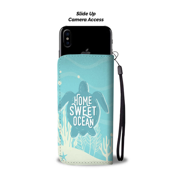 Sea Turtle Home Sweet Ocean Wallet Phone Case - Black Rukh