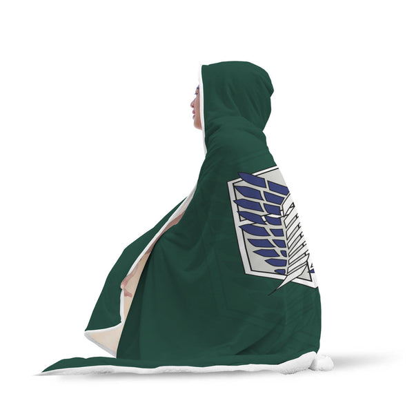 Attack on Titan Green Hooded Blanket - Black Rukh