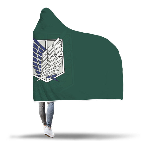 Attack on Titan Green Hooded Blanket