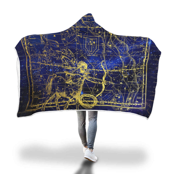 Sagittarius Horoscope Zodiac Sign Hooded Blanket - Black Rukh