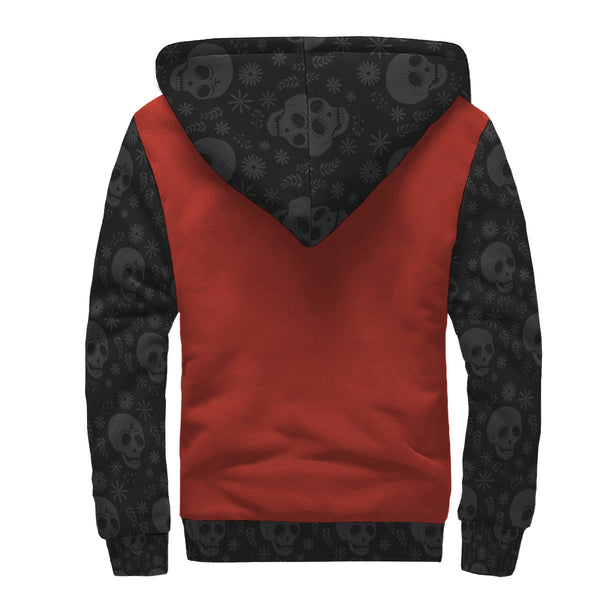 Limited Edition Red Skull AOP Sherpa Hoodie - Black Rukh