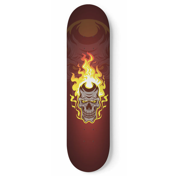 Flaming Skull Skateboard (No Wheels) - Black Rukh
