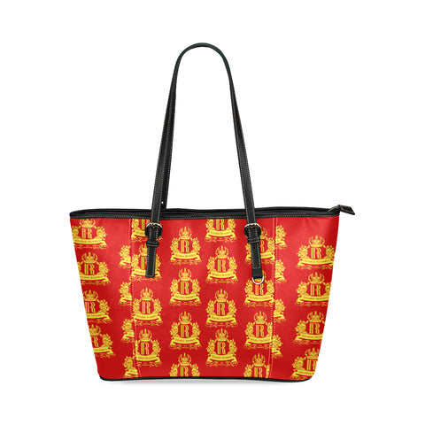 Rosalia's Treasures Tote Red/Gold Leather Tote Bag/Small (Model 1640)