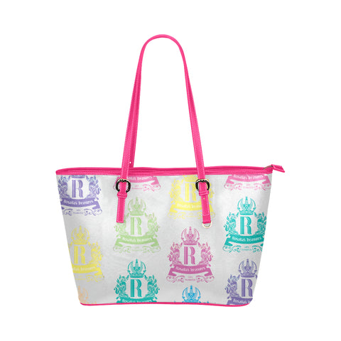 Rosalia's Treasures Royale White/Pink/Multi Leather Tote Bag/Small (Model 1651)