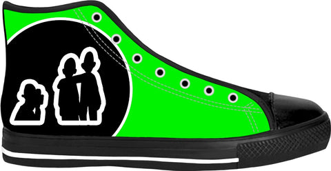 """Say Cheese"" Neon Green High Top Canvas Sneakers"