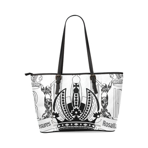 Rosalias Treasures Classic White/Black Crown Leather Tote Bag/Large (Model 1640)