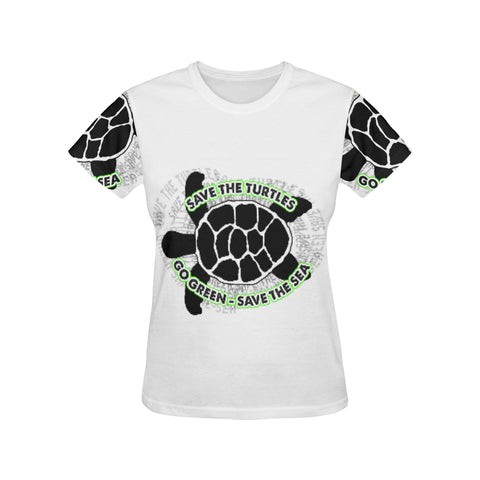 SAVE THE TURTLE DESIGN2 All Over Print T-Shirt for Women (USA Size) (Model T40)