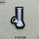 (46 Styles) Black and White Alphabet Patches for Clothes Stripes Iron on Appliques Clothing Stickers Letters Embroidery Badges
