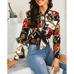 2019 women's new fashion chain print long-sleeved shirt casual single-breasted chiffon shirt