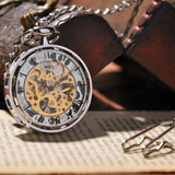 Vintage Gold Transparent Skeleton Pocket Watches Steampunk Hand Winding Mechanical Pocket Watch Fob Clock Men Gift DAD Jewelry