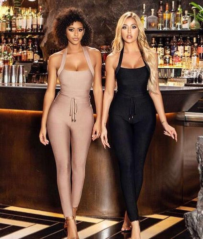 Rayon Bandage Jumpsuit Sexy Bodycon