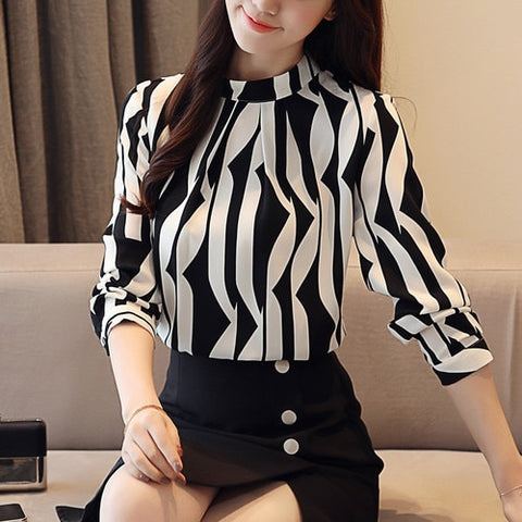 Fashion women blouse long sleeved printed women top  stand collar blouses slim fit