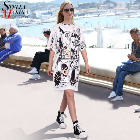 New Arrival 2019 Korean Style Summer Women White Dress Half Sleeve Plus Size Robot Cartoon Printed Ladies Cute Midi Loose Sun Dress