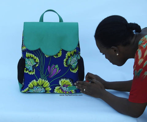 Leather & Kitenge Bag