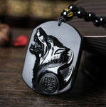 Howling Wolf Obsidian Amulet - whimsyandever