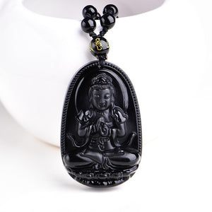 Black Obsidian Buddha Necklace - whimsyandever