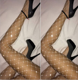 Maleficient Rhinestone Fishnet Stockings - whimsyandever