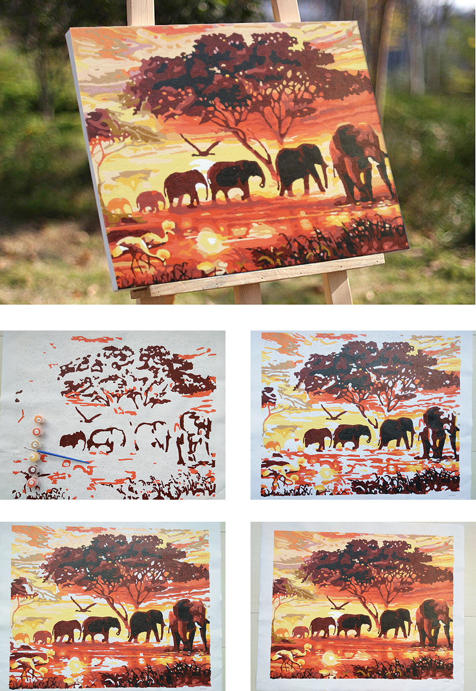 African Safari: Van-Go Paint-By-Number Kit - whimsyandever