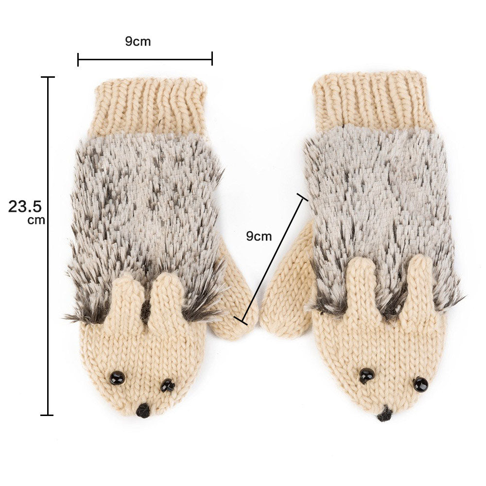 Hedgehog Fluffy Mittens - whimsyandever