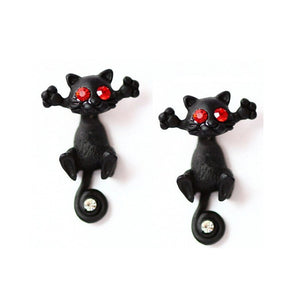 Falling Kitty Earrings - whimsyandever