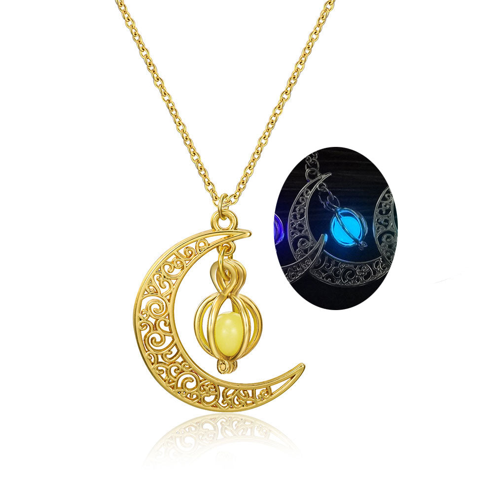 Glowing Crescent Moon Necklace - whimsyandever