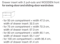 Interior Drawer Suitable for Sliding Wardrobes  extra- Blue Ocean Interiors
