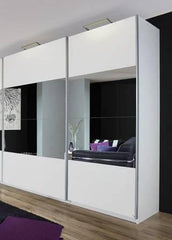 RauchBeluga Plus 2 Door Sliding Wardrobe, High Polish Doors and Centre Mirror StripeBlue Ocean Interiors