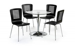 Kudos Round Glass Dining Table with 4 Chairs  glass dining tables and chairs- Blue Ocean Interiors