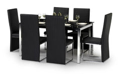 Tempo Dining Table Black Glass with 6 Black PU Chairs  glass dining tables and chairs- Blue Ocean Interiors