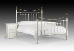 Victoria Metal Bed in Stone White with Real Brass 135cm  metal bed- Blue Ocean Interiors