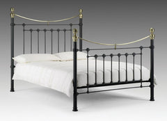 Victoria Metal Bed in Satin Black with Real Brass 135cm  metal bed- Blue Ocean Interiors