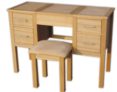 Oakridge Dressing Table & Stool in Oak with Chrome Handles  dressing table- Blue Ocean Interiors