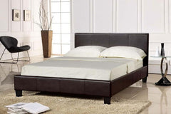 Prado 5'0'' Kingsize Bedstead in Brown Faux Leather Finish  leather bed- Blue Ocean Interiors