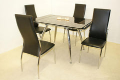 Magna Extending Dining Table in Black Glass with 4 Lazio Chairs  glass dining tables and chairs- Blue Ocean Interiors