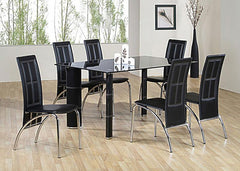 Worcester Black Glass Dining Table With 6 Chairs  glass dining tables and chairs- Blue Ocean Interiors