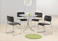 Orkney Clear Glass Round Dining Table With 4 Chrome PU Chairs  glass dining tables and chairs- Blue Ocean Interiors