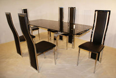 Highgrove Extending Dining Table in Black Glass with 6 Chairs  glass dining tables and chairs- Blue Ocean Interiors