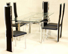 Heartlands FurnitureCrystal Extending Dining Table in Clear Glass with 6 ChairsBlue Ocean Interiors