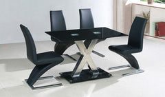 Paxel Large Dining Table in Black Glass with 4 Chairs  glass dining tables and chairs- Blue Ocean Interiors