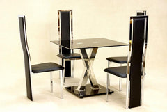 Paxel Small Dining Table in Black Glass with 4 Chairs  glass dining tables and chairs- Blue Ocean Interiors