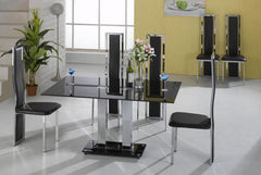 Trinity  Large Dining Table in Black Glass with 6 Chairs  glass dining tables and chairs- Blue Ocean Interiors