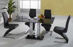 Trinity Dining Table in Black Glass with 4 Z Chairs  glass dining tables and chairs- Blue Ocean Interiors