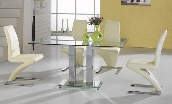 Heartlands FurnitureAnkara  Large Dining Table in Clear Glass with 4 Z ChairsBlue Ocean Interiors
