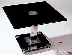 Trinity Lamp Table in Black Glass  side table- Blue Ocean Interiors